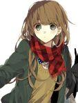 1girl bangs blush brown_hair cardigan green_eyes long_hair open_clothes open_jacket original scarf solo swept_bangs wonoco0916