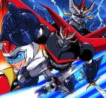character_request great_mazinger grin lightning mecha smile sword weapon yuya