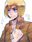 1boy armin_arlert blonde_hair blue_eyes salute shingeki_no_kyojin tears toboso_yana writing