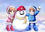 1boy 1girl :d blue_eyes blush_stickers boots brown_hair ears facial_hair grin hat ice_climber ice_climbers mario mittens mustache nana_(ice_climber) open_mouth parka popo_(ice_climber) scarf short_hair sigurdhosenfeld smile snow snowball snowing snowman super_mario_bros.