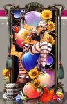 2boys absurdres aviator_cap caesar_anthonio_zeppeli flower gem globe hat hertz_(tsuquart) highres jojo_no_kimyou_na_bouken joseph_joestar_(young) multiple_boys red_stone_of_aja shirt striped striped_shirt sunflower top_hat white_hair
