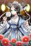 1girl aqua_eyes artist_name belt black_hair earrings english flower gem hair_ornament jewelry lantern lipstick makeup mirror necklace original pearl_necklace peony_(flower) shainea smile solo sparkle traditional_clothes water_drop watermark web_address wide_sleeves