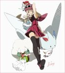1girl arm_behind_head armpits bag bike_shorts black_legwear blonde_hair carbink ciel_arc floette full_body handbag hat klefki long_hair pleated_skirt poke_ball pokemon pokemon_(creature) pokemon_(game) pokemon_xy porkpie_hat premier_ball ralts serena_(pokemon) skirt sleeveless sleeveless_shirt smile sunglasses sunglasses_on_head thigh-highs togekiss walking whimsicott white_background