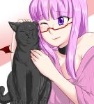 1girl :3 alternate_costume black_cat blush breasts cat choker cleavage closed_eyes glasses long_hair off_shoulder one_eye_closed patchouli_knowledge payot petting purple_hair reizou semi-rimless_glasses touhou under-rim_glasses violet_eyes wink