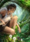 1girl armlet brown_hair chen_yue dagger earrings facepaint forest fur_cape jewelry kodama lips loose_socks mononoke_hime nature necklace nose one_knee reverse_grip san short_hair socks solo tooth_necklace weapon