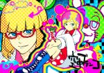 blonde_hair blue_eyes boots child colorful doctor dual_persona glasses honchu irabu_ichirou kuuchuu_buranko male multicolored_hair necktie time_paradox trap trapeze