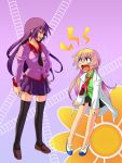 2girls bakemonogatari bangs blonde_hair blue_eyes blunt_bangs blush clenched_hands crossover flower hime_cut houjou_yuu labcoat legs long_hair mary_janes monogatari_(series) multiple_girls necktie open_mouth pani_poni_dash! purple_eyes purple_hair rebecca_miyamoto saitou_chiwa school_uniform seiyuu_connection seiyuu_joke senjougahara_hitagi shirt shoes skirt smile standing staple staples surprise surprised tears thigh-highs thighhighs violet_eyes zettai_ryouiki
