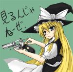 arukana bad_id blonde_hair blue_eyes bullet gun handgun hat kirisame_marisa long_hair reloading revolver solo touhou very_long_hair weapon witch_hat