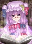 book glasses hat kubozuka_pikurou long_hair patchouli_knowledge purple_eyes purple_hair solo touhou violet_eyes