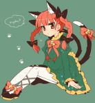 1girl animal_ears bell blush bow braid cat_ears cat_tail dress extra_ears hair_bow jingle_bell kaenbyou_rin long_hair looking_at_viewer multiple_tails pantyhose red_eyes redhead sitting solo tail tail_bell takamura touhou twin_braids white_legwear