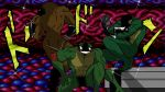 3boys ass battletoads fabulous frog game_cartridge jojo_no_kimyou_na_bouken manly multiple_boys muscle nes pimple_(battletoads) pose rash_(battletoads) shaded_face sparkle sunglasses zitz