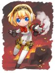 aegis blonde_hair blue_eyes cyborg fire hirai_yukio persona persona_3 shell_casing short_hair smoke tagme