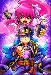 2girls aino_megumi artist_request belt blue_eyes blue_hair coat cosplay crossover cure_lovely cure_princess eyelashes fingerless_gloves gloves hair_ornament happinesscharge_precure! hat heart heart_hair_ornament highres jojo_no_kimyou_na_bouken jojo_pose kuujou_joutarou kuujou_joutarou_(cosplay) long_hair magical_girl multiple_girls open_mouth pink_eyes pink_hair ponytail pose precure puffy_sleeves serious shirayuki_hime source_request stand_(jojo) star_platinum star_platinum_(cosplay)