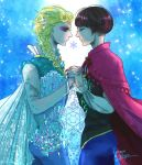 2boys androgynous anna_(frozen) anna_(frozen)_(cosplay) black_hair blonde_hair blue_dress cosplay dress dual_persona elsa_(frozen) elsa_(frozen)_(cosplay) frozen_(disney) jojo_no_kimyou_na_bouken multiple_boys parody tano1192