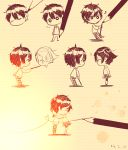 1boy 1girl black_hair closed_eyes drawing enomoto_takane heart heart_of_string hug hzrn_(ymj924) kagerou_project kokonose_haruka long_hair monochrome pencil school_uniform short_hair twintails