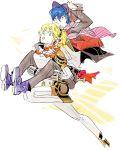 aegis android arisato_minato baseball_cap beanie blonde_hair blue_eyes blue_hair cardigan hat jumping persona persona_3 piggyback short_hair sutei_(giru) vest yuuki_makoto