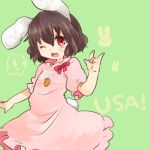 1girl animal_ears brown_hair inaba_tewi jewelry one_eye_closed open_mouth pendant rabbit_ears red_eyes short_hair solo takamura touhou wink