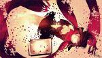 1girl ayano_no_koufuku_riron_(vocaloid) black_hair closed_eyes dissolving hair_ornament hairclip highres hzrn_(ymj924) kagerou_project long_hair paper_crane petals scarf school_uniform serafuku tateyama_ayano television
