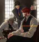 3boys black_hair board_game chair chess closed_mouth collar copyright_name cup fang formal glasses holding holding_cup housui_(g3hopes) kekkai_sensen klaus_von_reinhertz long_sleeves looking_at_another multiple_boys red_neckwear redhead short_hair sitting standing steven_a._starphase suit white_hair yellow_neckwear zap_renfro