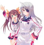 2girls arms_up blush brown_hair eyepatch green_eyes hair_ribbon hand_on_hip huang_lingyin infinite_stratos laura_bodewig long_hair looking_at_viewer multiple_girls open_mouth red_eyes ribbon school_uniform silver_hair simple_background twintails white_background yo_yuma
