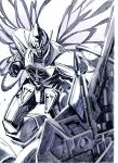 gundam highres mecha monochrome moonlight_butterfly no_humans nobita turn_a_gundam turn_a_gundam_(mobile_suit)