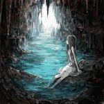 1girl absurdres black_hair brown_eyes cave dress highres long_hair looking_away original river sigmasmail sitting underground water