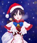 1girl bell blush bow everythinghoney gloves hat idolmaster kikuchi_makoto looking_at_viewer santa_hat short_hair smile snowing solo white_gloves