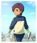 1boy clouds from_behind gloves inazuma_eleven_(series) inazuma_eleven_go looking_back male minamisawa_atsushi mizuhara_aki one_eye_closed purple_hair raimon short_hair sky solo track_jacket track_pants track_suit translation_request tree wink