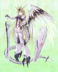 1girl blonde_hair blue_eyes char's_counterattack gundam highres long_hair mecha_musume nu_gundam shield single_wing sword very_long_hair weapon wings