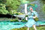 1girl airplane backpack bag dress green_hair hat kawashiro_nitori marker_(medium) millipen_(medium) outstretched_arm shiratama_(hockey) solo touhou traditional_media water waterfall