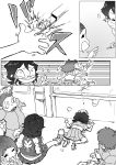comic highres jyaddena kicking kill_la_kill laughing mankanshoku_mako matoi_ryuuko monochrome oogure_maiko prank smile