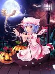 1girl bird blue_hair brick_floor cat cat_tail cross fingernails fish full_moon grass gyaza hat hat_with_ears high_heels jack-o'-lantern kemonomimi_mode lamppost moon nail_polish nebula night outdoors outstretched_arm petals puffy_short_sleeves puffy_sleeves red_eyes remilia_scarlet short_hair short_sleeves skirt skirt_set sky solo star_(sky) starry_sky tail tail_bow touhou umbrella wrist_cuffs