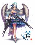 1girl blue_eyes breasts cleavage gia gun highres long_hair original silver_hair solo weapon wings