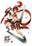 1girl bikini_top gia highres long_hair navel original ponytail red_eyes redhead solo sword weapon