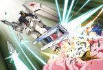 battle beam_rifle char's_counterattack death destruction energy_gun explosion fin_funnels gundam jagd_doga_gyunei_custom mecha nu_gundam platin_(alios) shield weapon