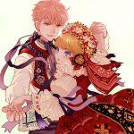 1boy 1girl blonde_hair blue_eyes blush couple dancing hetero isi88 original pink_hair short_hair traditional_clothes