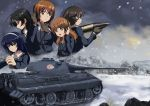5girls absurdres akiyama_yukari anglerfish black_eyes black_hair blue_hair brown_eyes brown_hair emblem entwicklung_50 girls_und_panzer gloves hand_on_headphones headphones highres holding isuzu_hana jacket long_hair long_sleeves military military_uniform military_vehicle multiple_girls nishizumi_miho outdoors reizei_mako short_hair snow takebe_saori tank tank_shell throat_microphone tianyu_jifeng uniform vehicle world_of_tanks