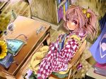 1girl apron bell book book_hug bookshelf bowl brick_floor chair checkered_dress cup cushion desk fingernails from_above glasses glasses_removed hair_bell hair_ornament highres holding holding_book looking_at_viewer motoori_kosuzu nmknf_(mkn) phonograph red_eyes redhead scroll short_hair sitting smile solo touhou tsukumogami twintails vase