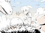 big blush clouds dinosaur egg fei_rune inazuma_eleven_(series) inazuma_eleven_go inazuma_eleven_go_chrono_stone mizuhara_aki monochrome open_mouth pterodactyl sky spot_color wonderbat