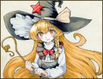 1girl blonde_hair blush bow braid buttons capelet hat holding kirisame_marisa long_hair long_sleeves shiratama_(hockey) side_braid smile solo star touhou traditional_media very_long_hair wand witch_hat yellow_eyes