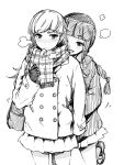2girls 3: blush braid coat gloves kantai_collection kitakami_(kantai_collection) kusano_houki loafers monochrome multiple_girls ooi_(kantai_collection) plaid plaid_scarf scarf shoes sketch skirt winter_clothes yuri