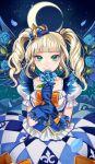 aikatsu! blue_eyes blush dress green_hair long_hair smile tails toudou_yurika twin