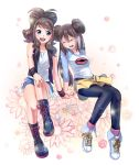2girls baseball_cap black_legwear blue_eyes boots brown_hair denim denim_shorts double_bun flower full_body hand_on_knee hat hat_removed headwear_removed high_ponytail highres holding_hands invisible_object long_hair mei_(pokemon) multiple_girls open_mouth pantyhose pink_background pokemon pokemon_(game) pokemon_bw pokemon_bw2 raglan_sleeves shoes shorts sky-sky sneakers sparkle touko_(pokemon) twintails vest visor_cap wristband