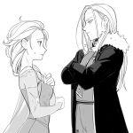 2girls a-ka dress elsa_(frozen) frozen_(disney) fullmetal_alchemist long_hair military military_uniform multiple_girls olivier_mira_armstrong tagme uniform