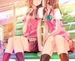 2girls almost_kiss bag bench blouse blush brown_hair cardigan_vest checkered checkered_skirt hand_on_own_chest haruka_natsuki head_out_of_frame holding_hands long_hair low_twintails multiple_girls nail_polish nervous original school_bag school_uniform short_sleeves sitting skirt smile socks twintails yuri