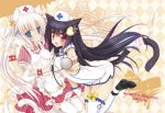 2girls animal_ears black_hair blue_eyes blush breasts cat_ears frills hat long_hair looking_at_viewer mao_(alepricos) multiple_girls nurse nurse_cap original red_eyes smile stethoscope thighhighs white_hair