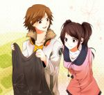 1boy 1girl arms_behind_back brown_eyes brown_hair coat earrings flower_(symbol) fur_trim hanamura_yousuke headphones headphones_around_neck holding_clothes jacket jewelry kujikawa_rise long_hair necklace open_mouth persona persona_4 pink_eyes polka_dot polka_dot_background shopping smile twintails