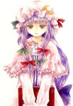 1girl book bow capelet hair_bow hat long_hair patchouli_knowledge purple_hair shiroma_(mamiko) solo touhou traditional_media very_long_hair violet_eyes watercolor_(medium) white_background