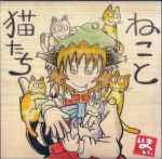 1girl animal_ears animal_on_head brown_hair cat cat_ears cat_on_head cat_tail chen hat looking_at_viewer short_hair simple_background smile tail touhou translation_request yotsuboshi-imai
