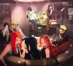 3girls 6+boys 7boys akatsuki akatsuki_(naruto) armbands arms bare_shoulders black_hair blonde_hair blush brothers casual covering_mouth eyebrows eyes_closed family father father_and_son females fingers fist flak_jacket forehead forehead_protector gloves green_eyes hairband hands haori haruno_sakura headband husband husband_and_wife instrument karaoke konohagakure_symbol long_hair males microphone mother mother_and_son multiple_boys multiple_girls namikaze_minato naruto naruto_shippuden naruto_shippuuden oba-min open_mouth pink_hair punch red_hair redhead senju_hashirama short_hair shoulders smile sparkle spiked_hair spiky_hair sweat table takashi_namikaze tambourine teeth television television_screen tongue tv uchiha_fugaku uchiha_itachi uchiha_madara uchiha_mikoto uchiha_sasuke uzumaki_kushina uzumaki_naruto wife